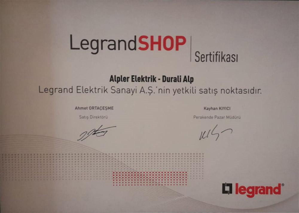 Legrand Shop Sertifikası
